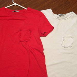 2 Zara Frill Pocket T Shirts (size M)